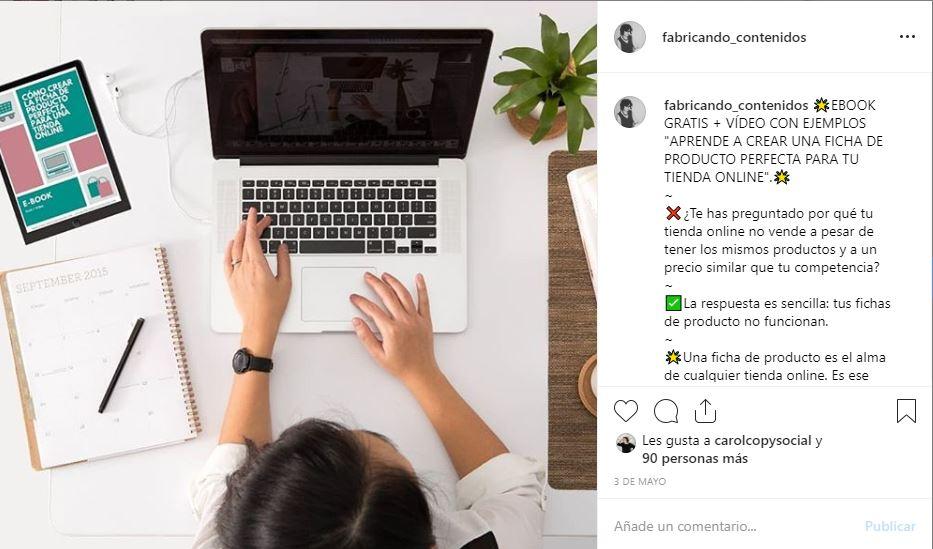 Aprovechar el contenido de tu blog en Instagram ejemplo